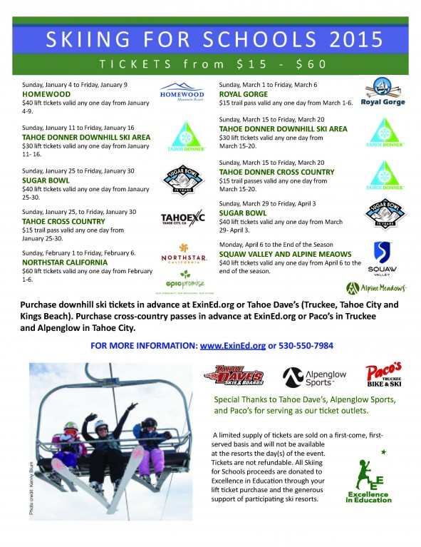 Flyer for Skiing for Schools 2015