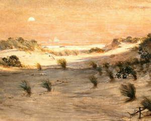 February calendar of events in Reno - Paint and Sip Sand Dunes at Sunset by Henry O. Tanner